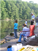 Side group view of people fishing